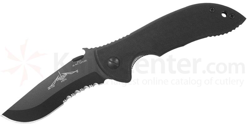 Emerson Mini Commander Folding Knife 3.4 inch Black Combo Blade with Wave, Black G10 Handles