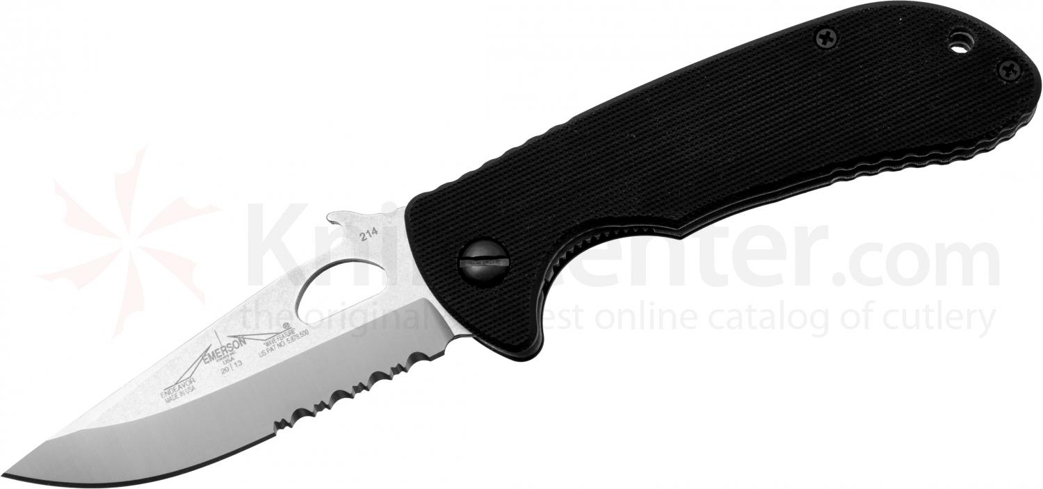 Emerson Endeavor W Folding Knife 3.4 inch Stonewash Combo Blade with Wave, Black G10 Handles