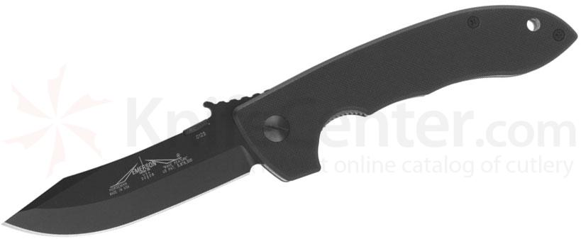 Emerson Horseman Mini CQC-8 Folding Knife 3.54 inch Black Plain Blade with Wave, G10 Handles