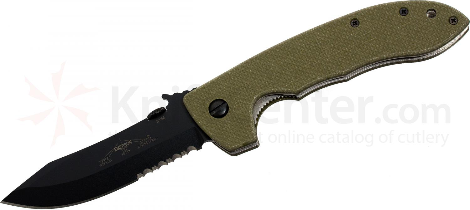 Emerson Prestige Model CQC-8 Folding Knife 3.9 inch Black Combo Blade with Wave, Jungle Green G10 Handles