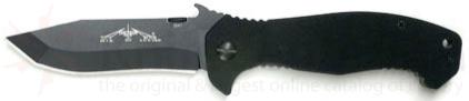 Emerson CQC15 Folding Knife 3.9 inch Black Plain Blade with Wave, Black G10 Handles