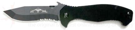 Emerson CQC15 Folding Knife 3.9 inch Black Combo Blade with Wave, Black G10 Handles