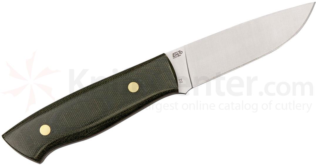 EnZO Trapper 95 Fixed 3-3/4 inch Plain D2 Blade, Green Micarta Handle, Brown Leather Sheath
