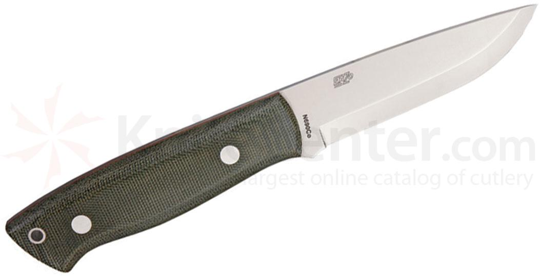 EnZO Trapper 95 Fixed 3-3/4 inch Plain N690Co Blade, Green Micarta Handle, Brown Leather Sheath