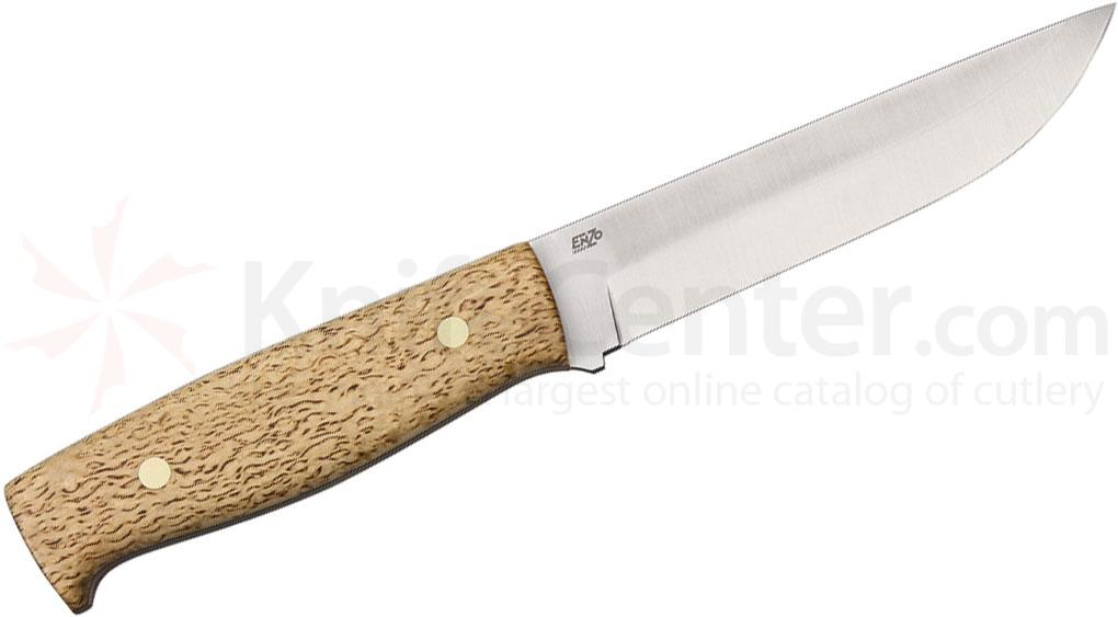 EnZO Camper 125 Fixed 5 inch Plain D2 Blade, Curly Birch Handle, Brown Leather Sheath