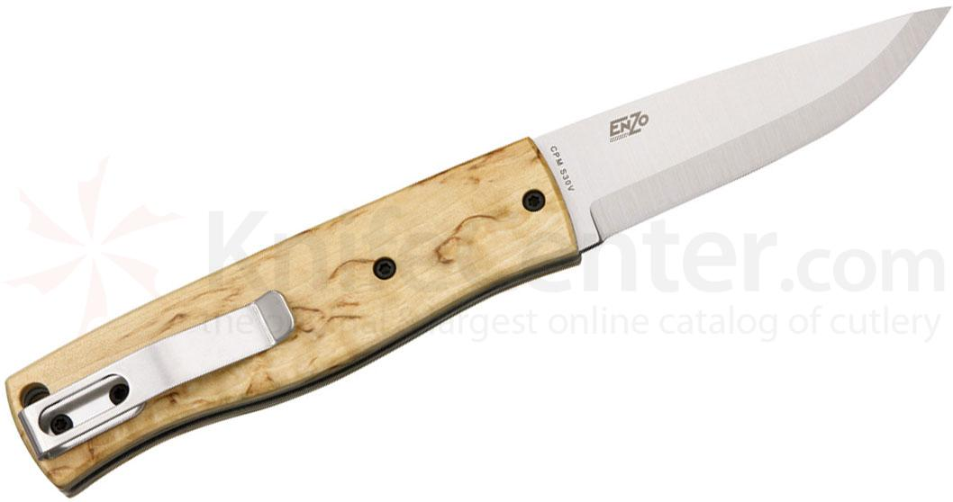 EnZO Model PK70 Slipjoint Folder 2-3/4 inch Scandi Ground S30V Blade, Curly Birch Handle