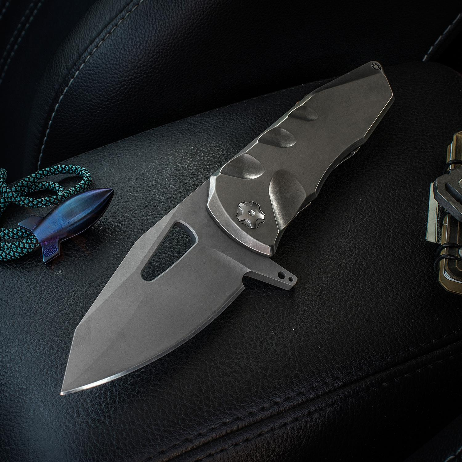 Elite Outfitting Solutions EOS Squid Flipper 3.625 inch S35VN Bead Blasted Blade, Satin Milled Titanium Handles, Flamed Fittings