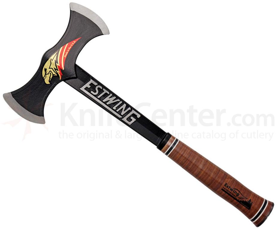 Estwing Black Eagle Double Bit Axe 16-5/8 inch Overall, Leather Handle, Black Nylon Sheath