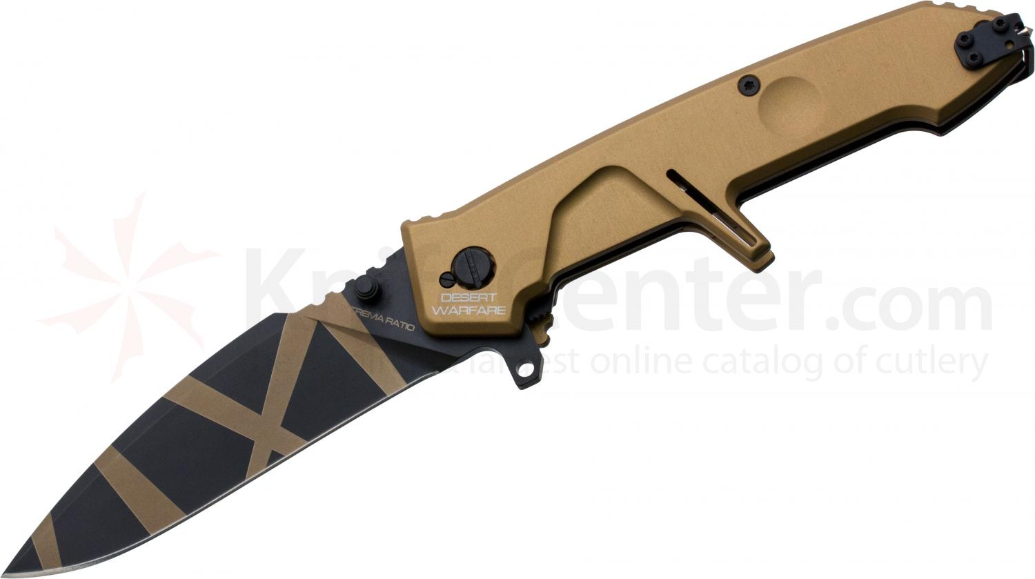 Extrema Ratio MF2 Desert Warfare Folding Knife 4.21 inch Plain N690 Blade, Tan Aluminum Handles