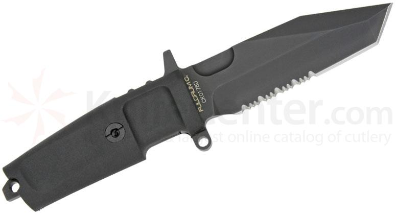 Extrema Ratio Fulcrum C Combat Knife 3.78 inch Black N690 Tanto Combo Blade, Forprene Handles