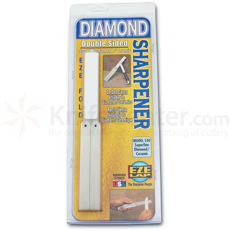 EZE-LAP Super Fine Diamond/Ceramic 2 Stone Set, White Handle - EZE-Fold Folding Handle