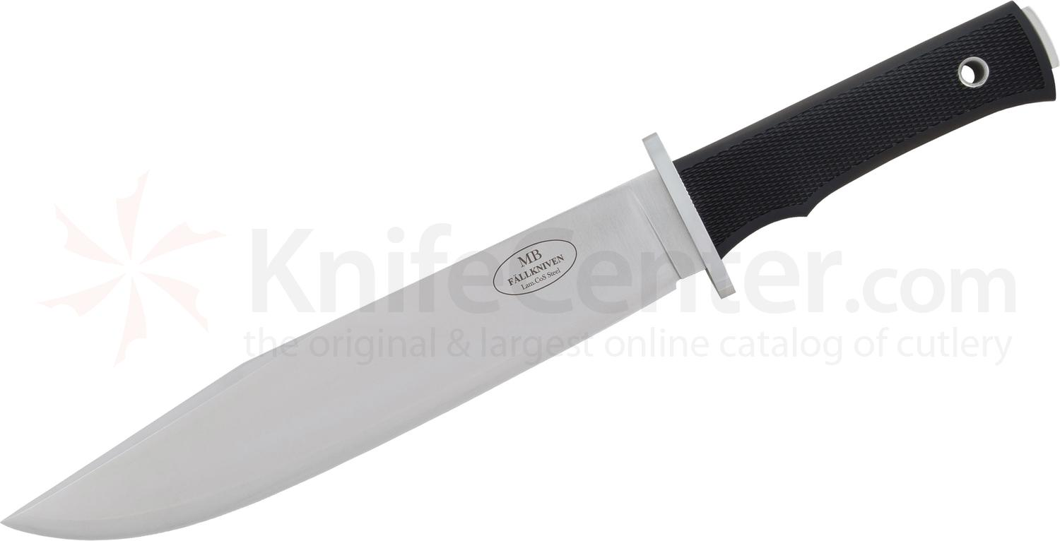 Fallkniven MB Modern Bowie Knife Fixed 10 inch Satin Laminated CoS Blade, Black Thermorun Handle, Black Leather Sheath