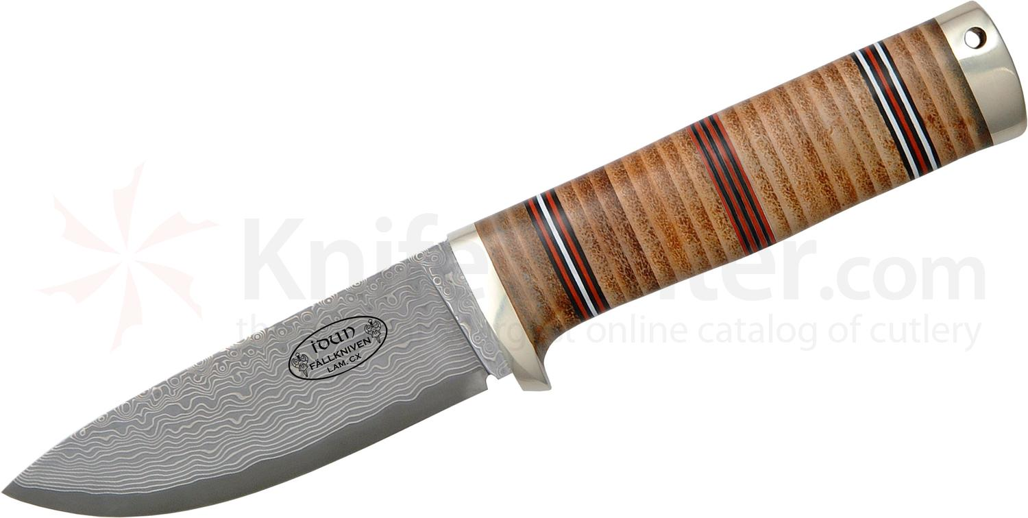 Fallkniven Northern Light NL5 Idun Cowry X 4 inch Damascus Blade, Stacked Leather Handle, Leather Sheath