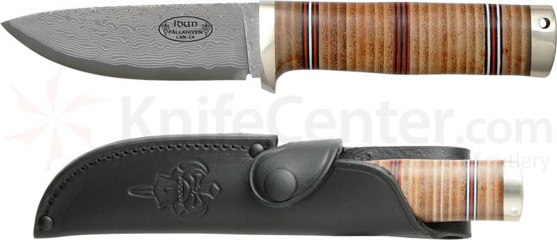 Fallkniven Northern Light NL5 Idun, Cowry X 4 inch Damascus Blade, Leather Sheath