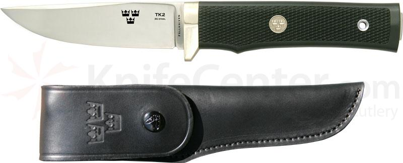 Fallkniven TK2 Tre Kroner Fixed 4 inch Blade, Thermorun Handle, Leather Sheath, Gift Box