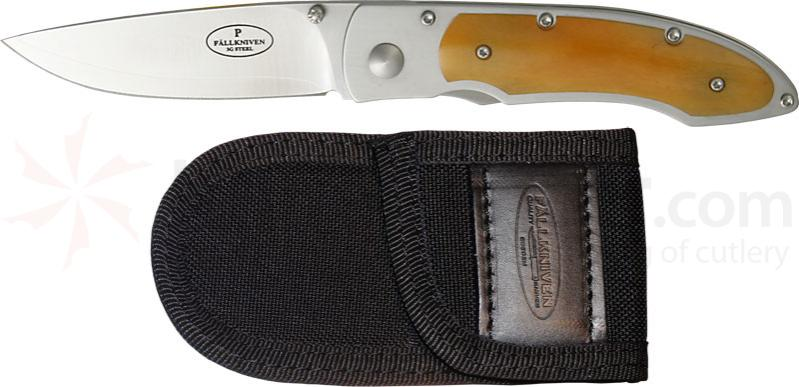 Fallkniven P3GY Folding Knife 3 inch 3G Blade, Yellow Bone Handles, Cordura Sheath