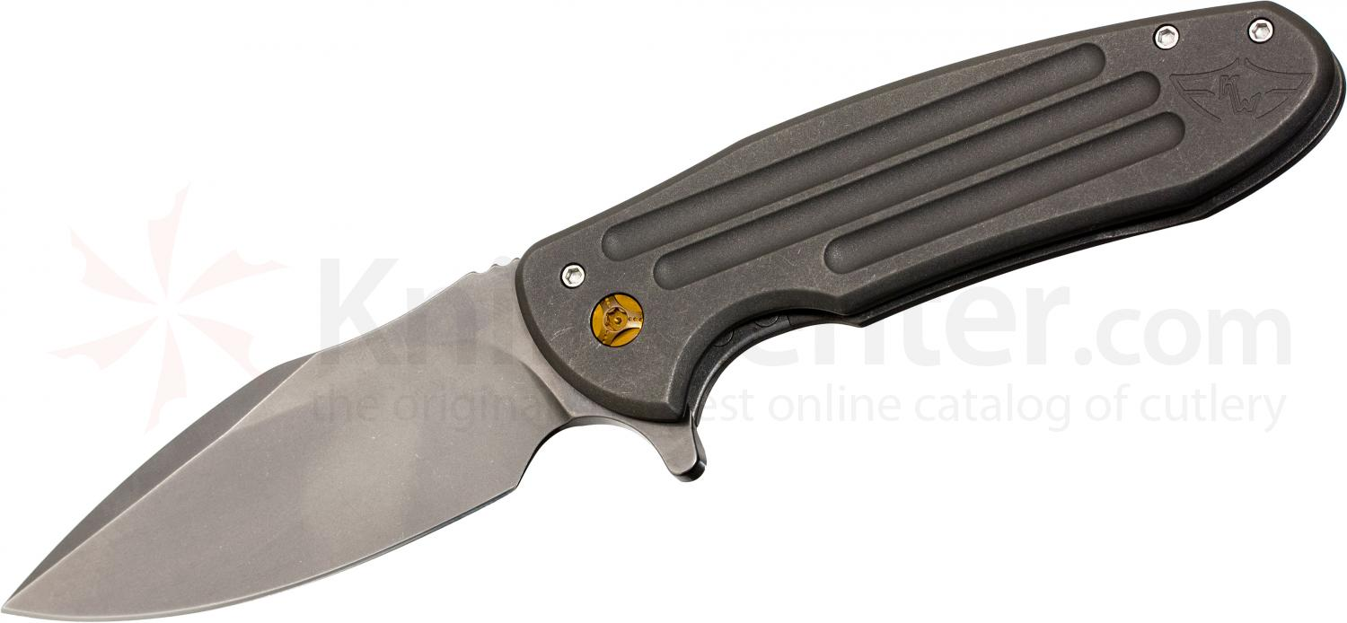 Ferrum Forge Fortis Model A Flipper 3.75 inch 20CV Stainless Steel Blade, Titanium Handles