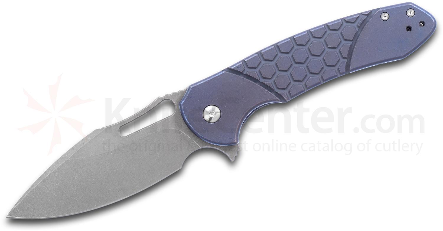 Ferrum Forge Pro Series Fortis 2.0 Flipper Knife 3.5 inch S35VN Drop Point Blade, Blue Hex Titanium Handles