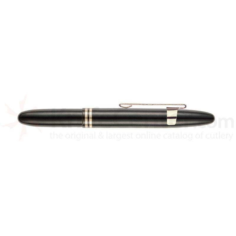 Fisher Shiny Black Bullet Space Pen with Gold Clip