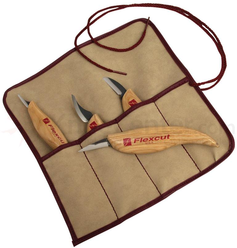 Flexcut 4-Piece Carving Knife Set, 4 Different Style Blades w/ Knife Roll, Ash Wood Handles