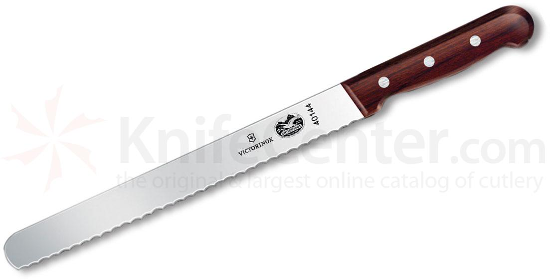 Victorinox Forschner 10 inch Serrated Slicing Knife, Round End, Rosewood Handles