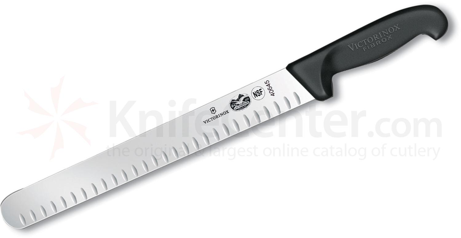 Victorinox 12 inch Fibrox Granton Edge Slicing/Carving Knife, Fibrox Handle