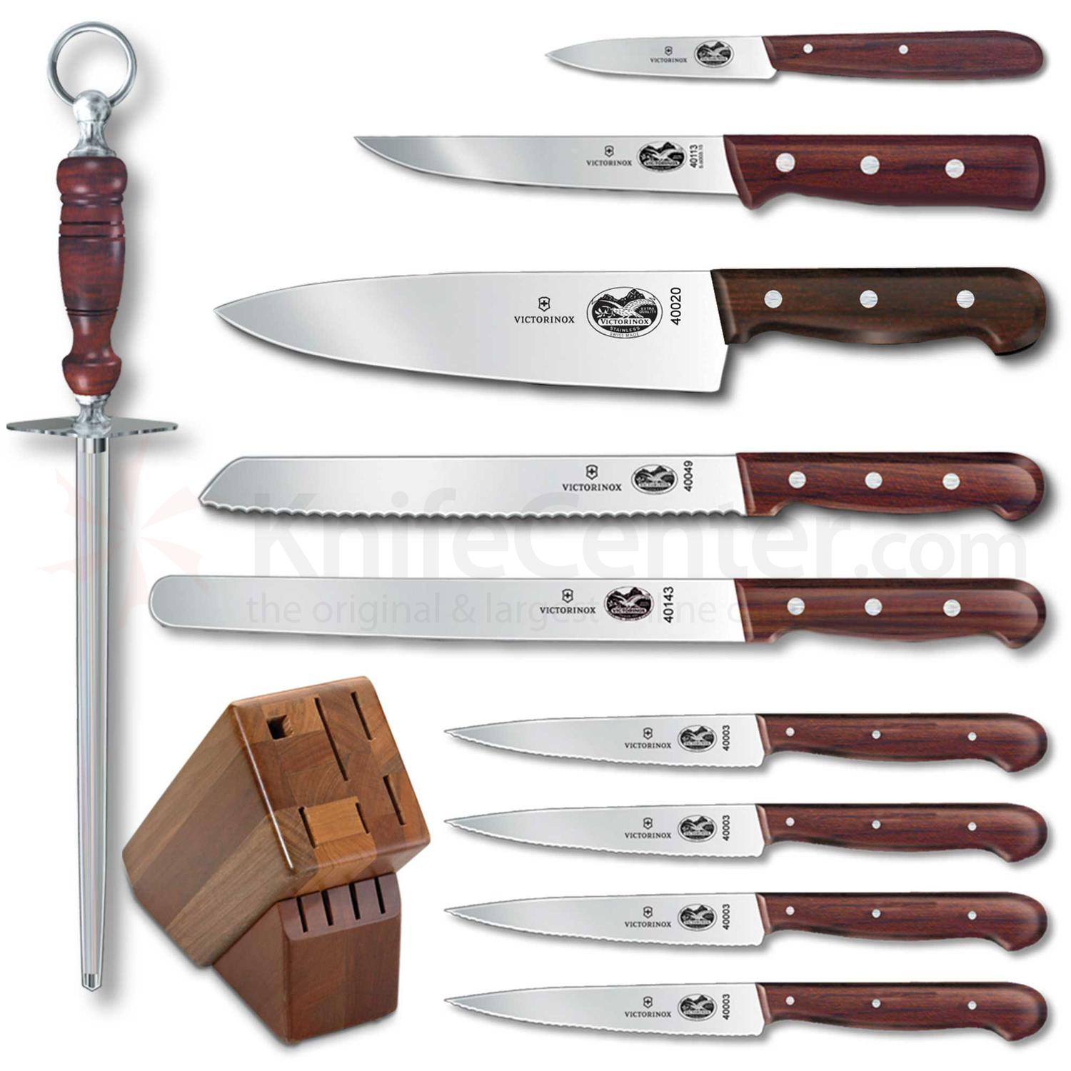 Victorinox forschner 11 piece block set rosewood handles for Victorinox kitchen knife set 5 pieces