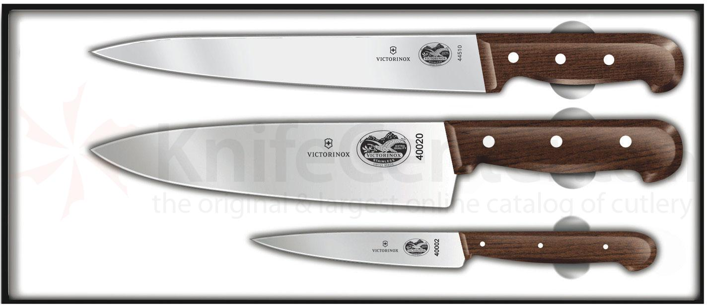 Victorinox forschner 3 piece chef 39 s set rosewood handles for Victorinox kitchen knife set 5 pieces