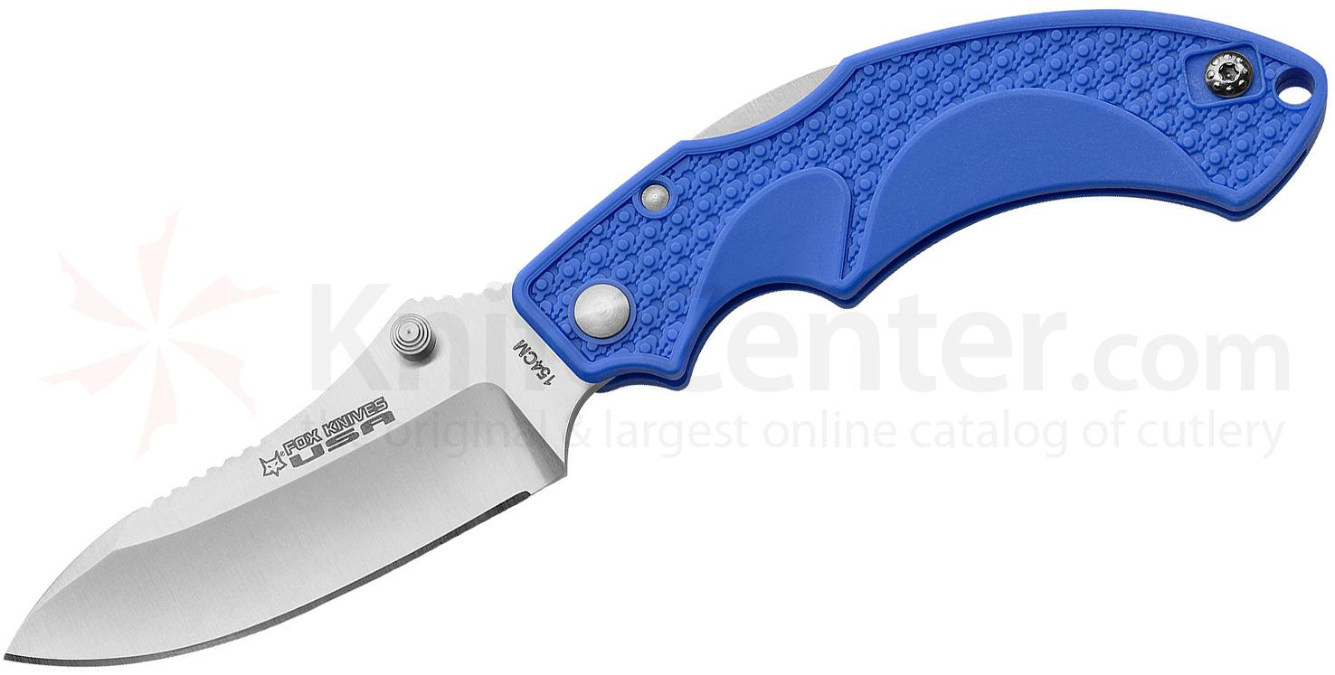 Fox USA Amico Folding Knife 3.5 inch Satin 154CM Drop Point Blade, Blue FRN Handles