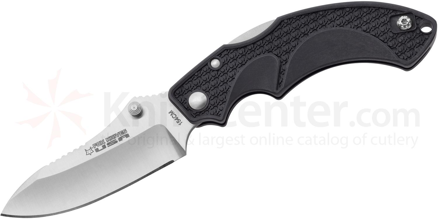 Fox USA Amico Folding Knife 3.5 inch Satin 154CM Drop Point Blade, Black FRN Handles