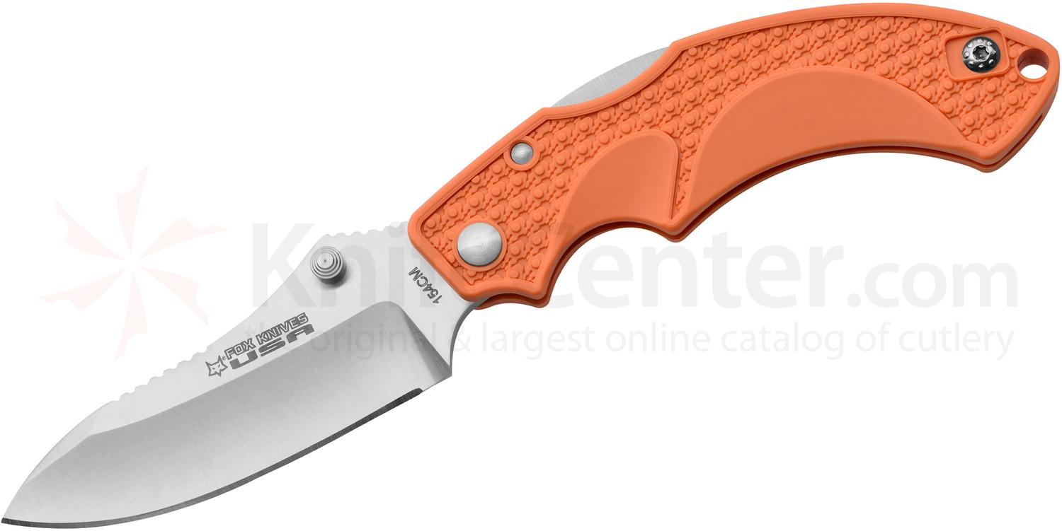 Fox USA Amico Folding Knife 3.5 inch Satin 154CM Drop Point Blade, Orange FRN Handles
