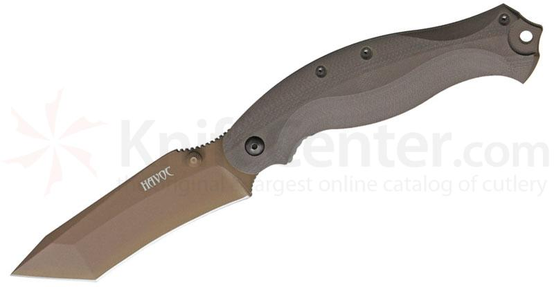 Fox HAVOC Folding 3.93 inch Earth Tone N690Co Recurve Tanto Blade, G10 Handles