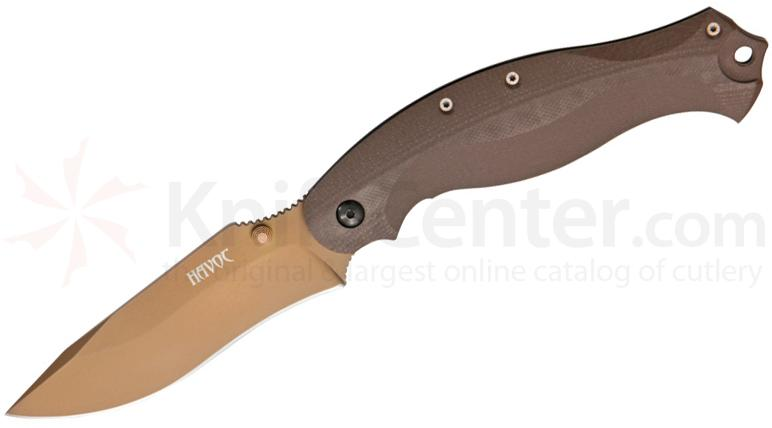 Fox HAVOC Folding 3.93 inch Earth Tone N690Co Drop Point Blade, G10 Handles