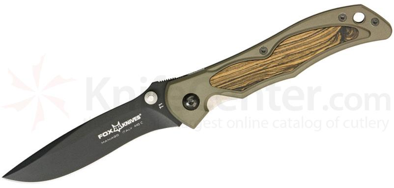 Fox Terzuola Folding 3-1/4 inch Plain Blade, Aluminum Handles with Bocote Wood Inserts