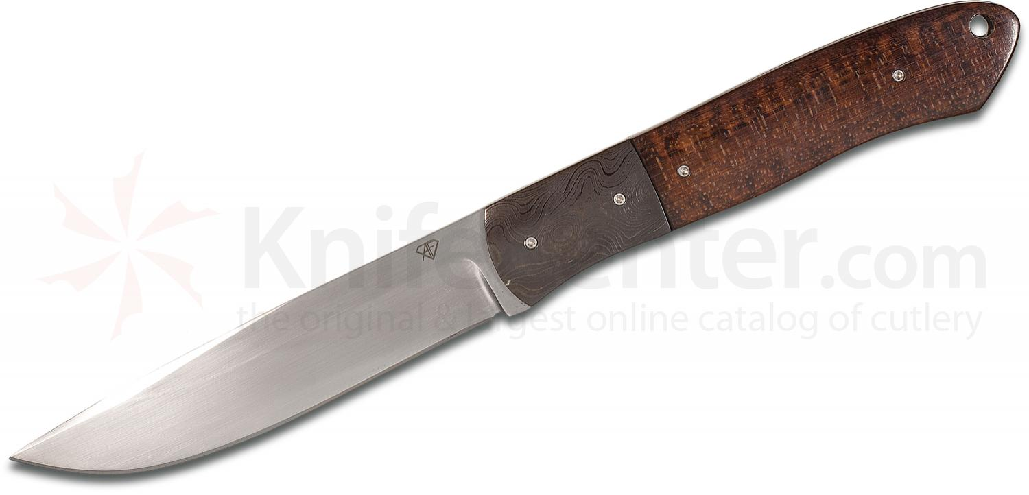 Aaron Frederick Custom 3PS Drop Point Fixed 4.05 inch Sandvik 12C27 Blade, Snakewood Handles with Damascus Bolsters, Leather Sheath