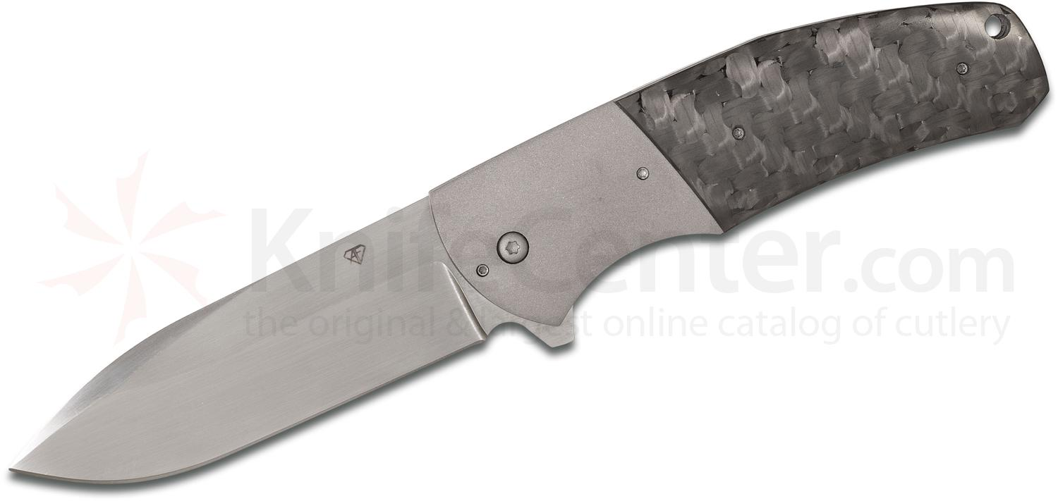 Aaron Frederick Custom FS-2 Flipper 3.75 inch CPM-154 Hand Rubbed Satin Blade, Carbon Fiber Handles with Titanium Bolsters