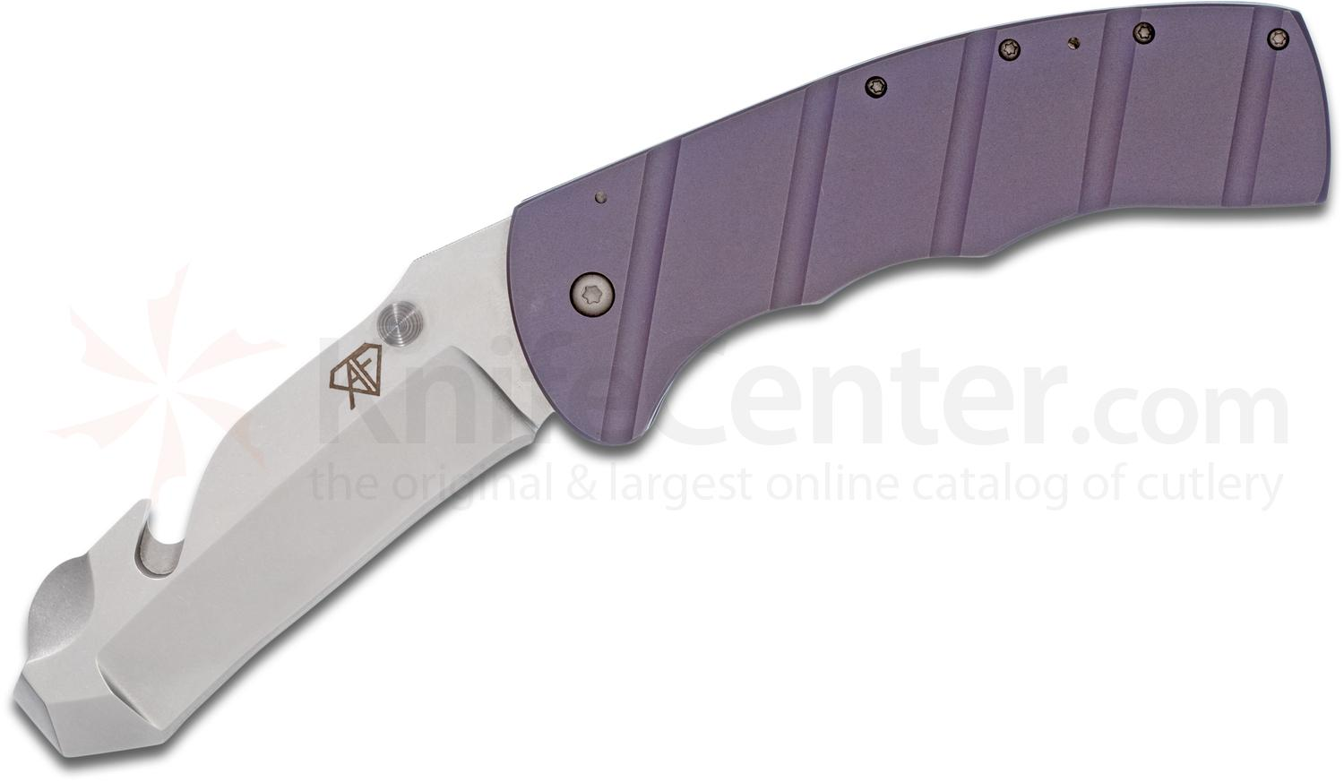 Aaron Frederick Custom VBSS Breacher Folding Knife 3.5 inch CPM-154 Blade with Pry Bar and Strap Cutter, Milled Purple Titanium Handles