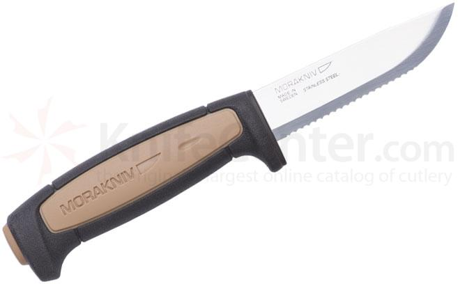 Morakniv Mora of Sweden Rope 3-5/8 inch Stainless Steel Serrated Blade, Brown and Black TPE Rubber Handle