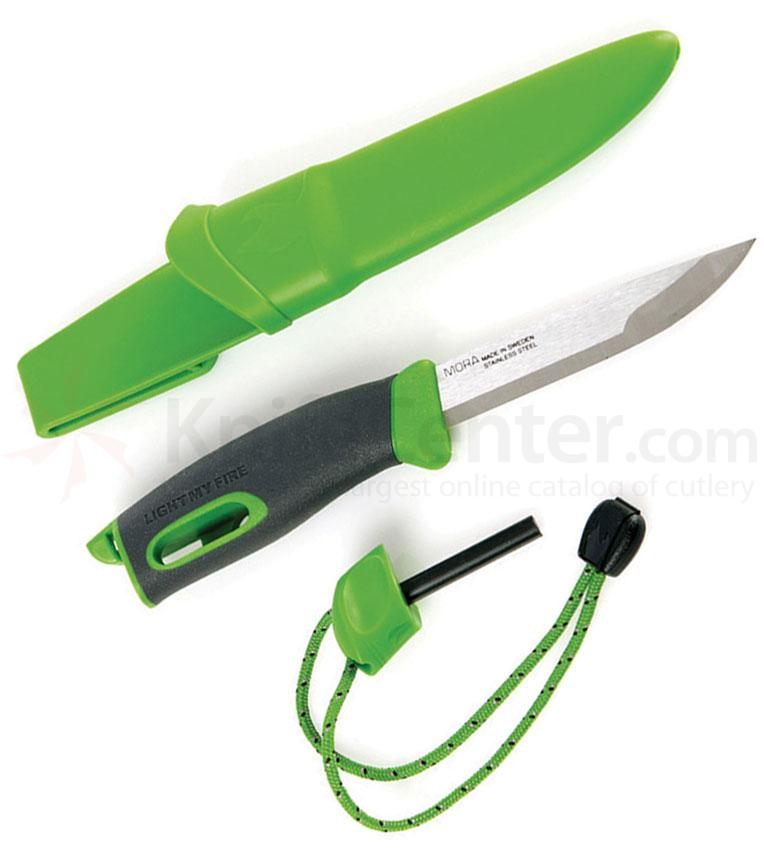 Morakniv Mora of Sweden/Light My Fire Green FireKnife 3-5/8 inch Stainless Steel Blade, Green Rubber Handle, Fire Starter