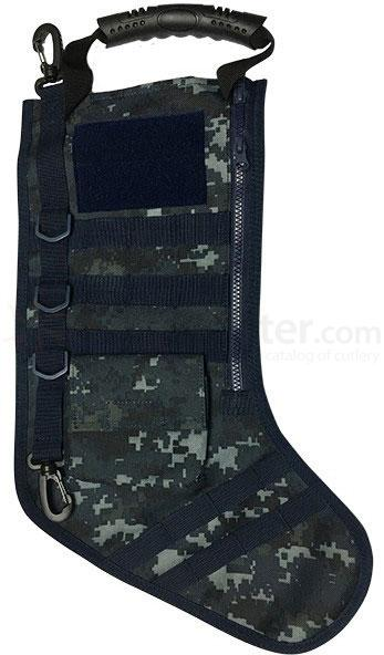 GenPro RuckUp Navy Blue Camo Tactical Christmas Stocking with MOLLE Attachment