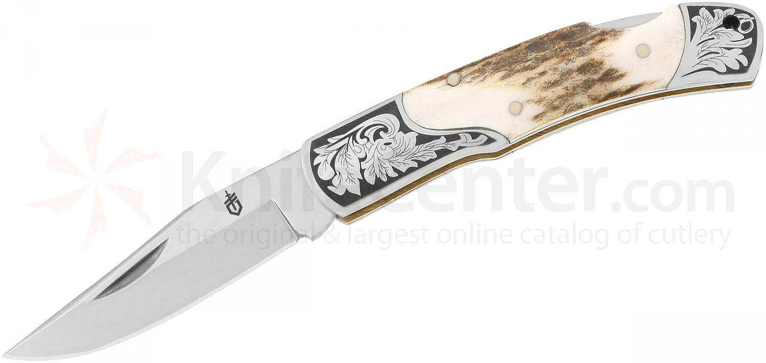Gerber Double Bolster Stag Stockman 3.5 inch Closed