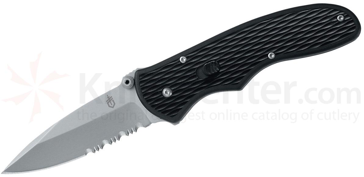 Gerber Fast Draw Assisted Folding Knife 3 inch Bead Blast Combo Blade, Black GFN Handles