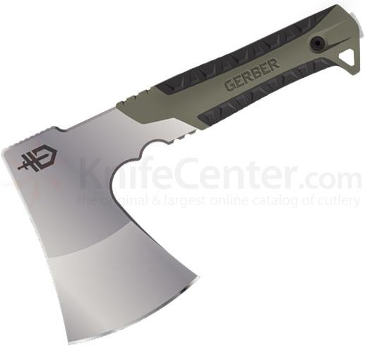 Gerber Pack Hatchet, Satin Blade, Sage Green Rubberized Overmold Handle, 9.46 inch Overall