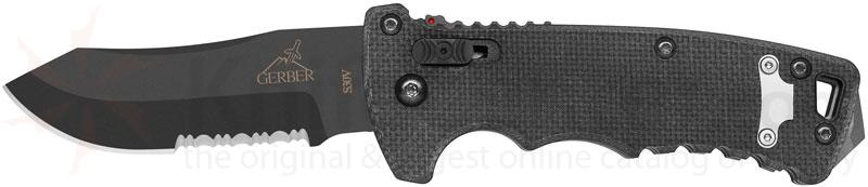 Gerber DMF AUTO 3.5 inch S30V Combo Modified Drop Point Blade, G10 Handles