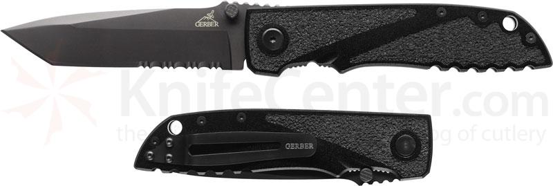 Gerber Icon Folding Knife 4.25 inch Tanto Combo Blade, Aluminum Handles