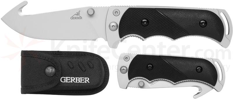Gerber Freeman Guide Folding Knife 3.6 inch Plain Blade, Gut Hook, TacHide Handle, Nylon Sheath