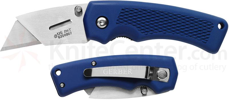 Gerber Superknife Edge Utility Folding Knife 1.1 inch Replaceable Blade, Blue TacHide Handles