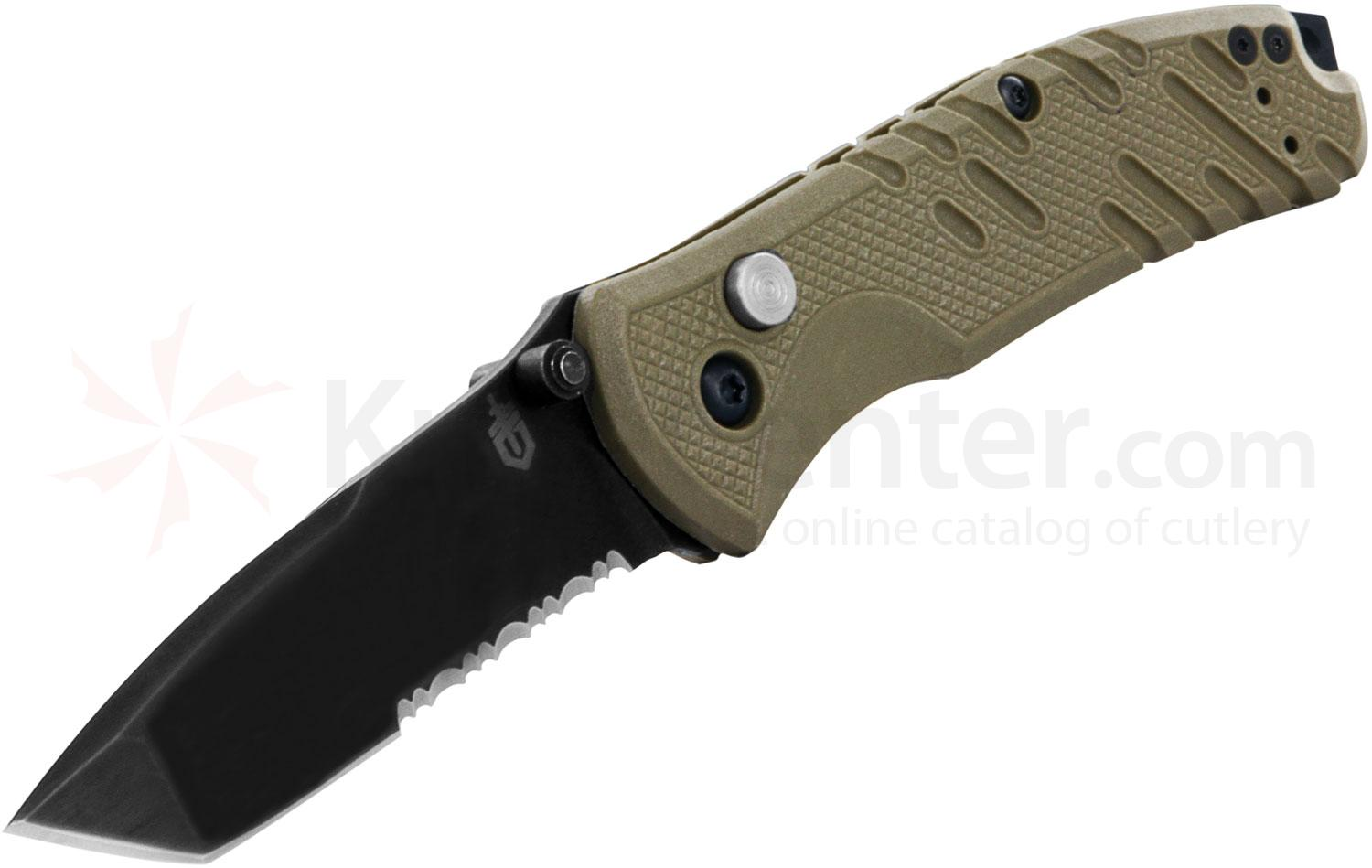Gerber Propel Downrange AO Assisted 3.51 inch Black S30V Tanto Combo Blade, Tan G10 Handles (30-000725)