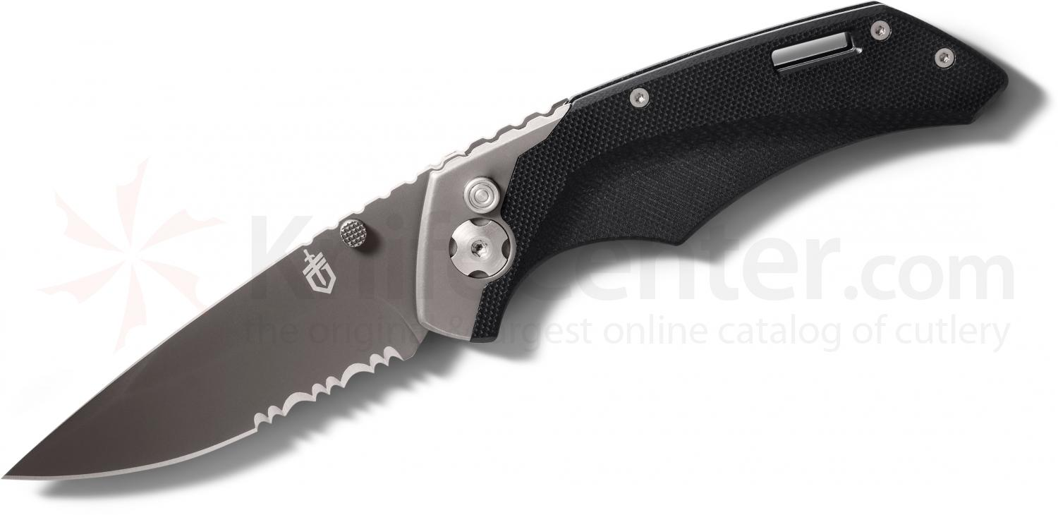 Gerber Contrast AO Assisted Opening Folder 3 inch Black Combo Blade, G10 and Steel Handles