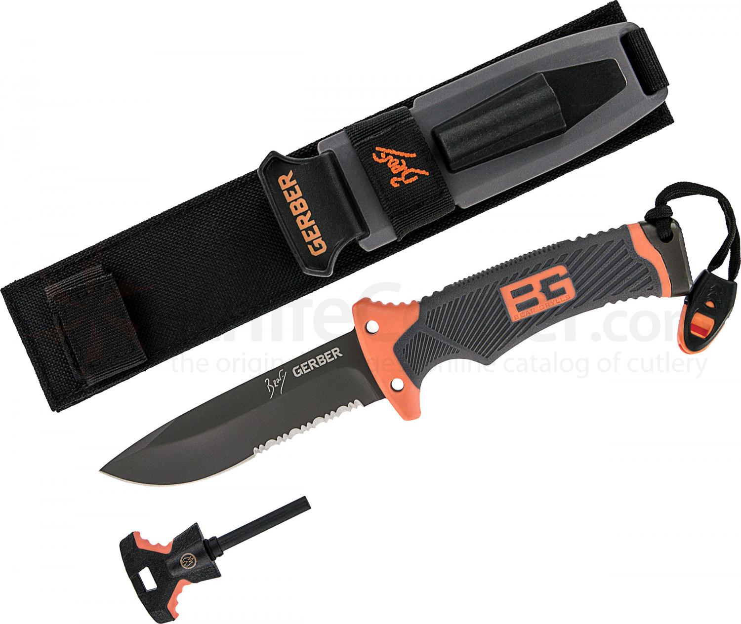 Gerber 31-000751 Bear Grylls Survival Knife 4.8 inch Combo Blade, Rubber Grip Handle